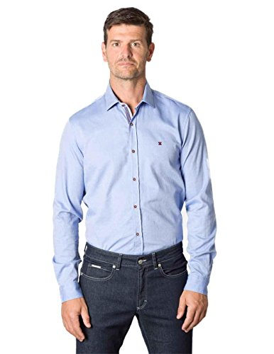 Etiem Camisa Regular Jacquard Azul Celeste Hombre