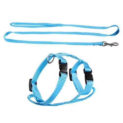 POPETPOP Adjustable Pet Rabbit Harness Nylon Bunny Harness Leash Lead - Soft Rabbit Harness and Leash for Walking Running Jogging Outdoor - Bunny Accessories (Sky-Blue)