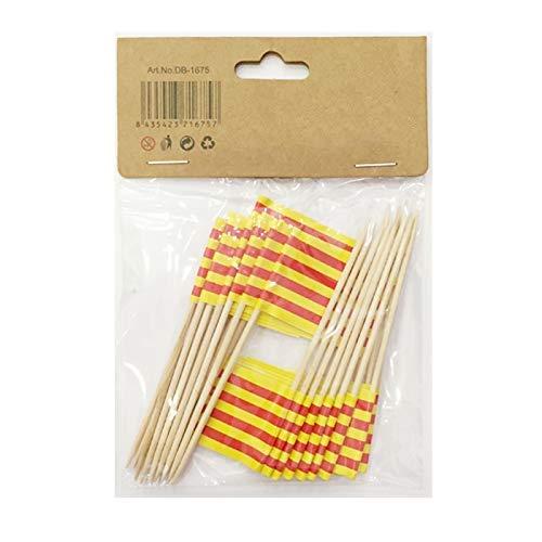 NEW TORO alillos de Tapas con Bandera Toothpick Flags Etiquetas Pequeñas para Magdalenas Decorar Tartas Bocadillos Cumpleaños Boda Fiesta de Bienvenida 3.5 * 2.5cm (Catalan) (Catalán 25pcs)
