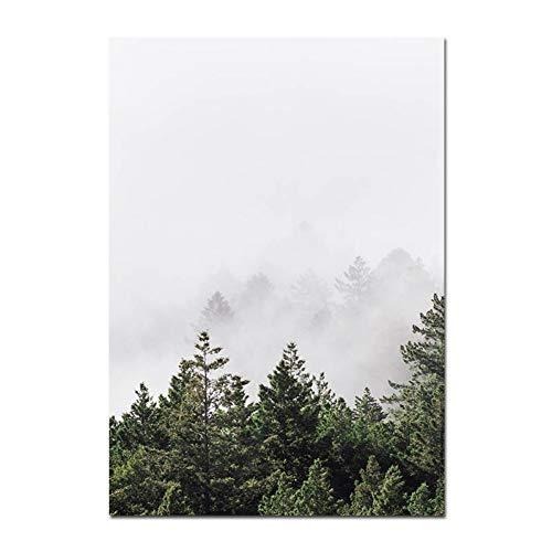 MJGW Leinwanddrucke Skandinavien Nebel Wald Nordic Poster Und Drucke Landschaft Wand Kunst Leinwand Malerei Dekorative Bilder Moderne Wohnkultur