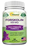 Forskolin 500mg Max Strength - 180 Capsules, Forskolin Supplement for 100% Pure Weight Loss Fuel, Coleus Forskohlii Root - Forskolin Diet Pills, Belly Buster Fat Burner 2X Slim Trim Lose