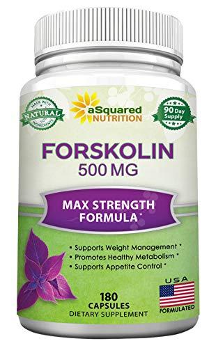 Forskolin 500mg Max Strength - 180 Capsules, Forskolin Supplement for 100% Pure Weight Loss Fuel, Coleus Forskohlii Root - Forskolin Diet Pills, Belly Buster Fat Burner 2X Slim Trim Lose