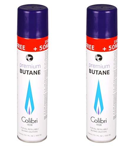 Colibri Butan Feuerzeug-Gas 2 x 300-ml mit Adapter im Deckel Universal einsetzbar hochrein für Jet-Flame geeignet Butane GAZ