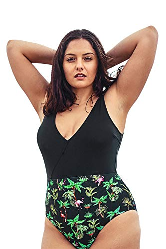 CUPSHE Women's Plus Size One Piece Swimsuit Palm Tree Print V Neck Bikini, 1X Black