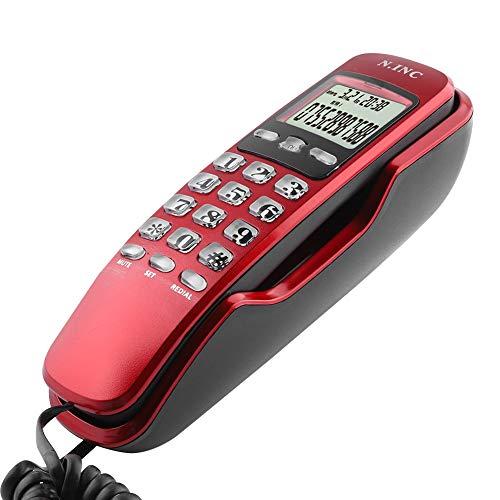 Teléfono con cable,mini teléfono de pared Home Office Hotel Identificador de llamadas entrantes Pantalla LCD Teléfono fijo,teléfono diseñado para colgar en la pared Tipo de cuerda fija Colgante(rojo)