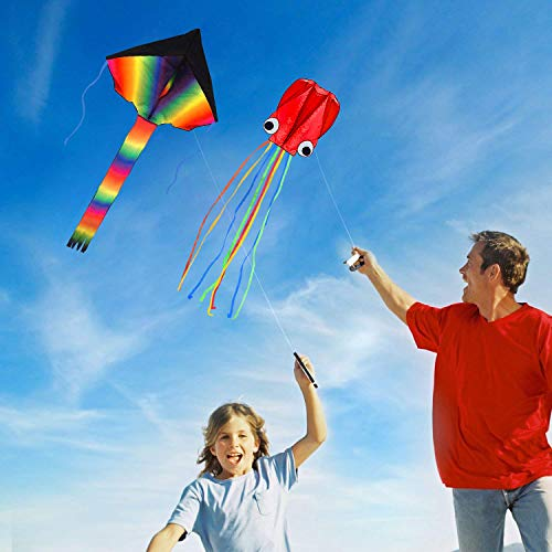Listenman 2 Pack Kites - Large Rainbow Kite and Red Mollusc Octopus with Long Colorful Tail for Children Outdoor Game,Activities,Beach Trip Great Gift to Kids Childhood Precious Memories