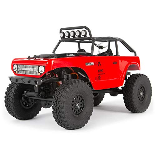 Axial SCX24 1/24 Deadbolt RC Crawler 4WD Truck 8' RTR with LED Lights, 3-Ch 2.4GHz Transmitter, Battery, and USB Charger: (Red) AXI90081T1