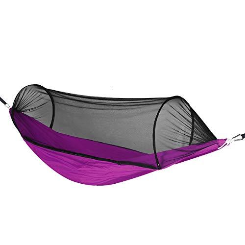 ZHANGNING Hamaca con mosquitera 1-2 Personas Tienda Hamaca Anti-Mosquito Red Colgante Plegable Plegable Playa Hamaca aérea de Camping (Color : Purple)