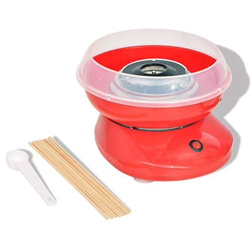 vidaXL Máquina de Algodón de Azúcar Modelo con Ruedas Potencia 480 W Color Roja
