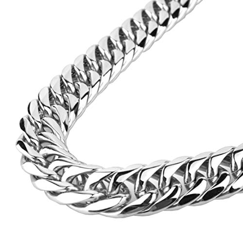 9/11/13/16/19/21mm Fashion Silver Stainless Steel Cut Cuban Curb Link Chain Cool Mens Bracelet Necklace 7-40inches(9mm,8inches)