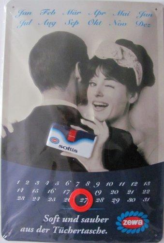 Zewa Softis - Soft und sauber aus der Tüchertasche - Endloskalender als Blechschild 20 x 30 cm