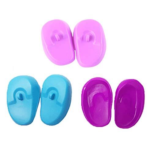 3 paia/6 tappi riutilizzabili in silicone per orecchie, coloranti, per parrucchieri, protezione dell'udito impermeabile, per uso domestico, bagno doccia (colore casuale)