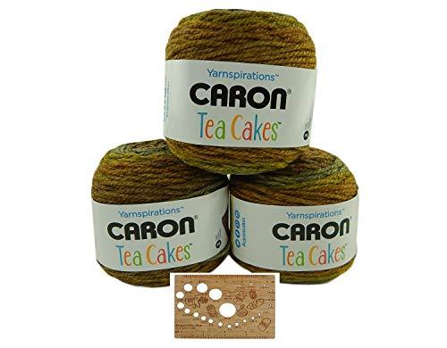 Caron Tea Cakes Acrylic-Wool Blend Yarn Super Bulky #6 8.5 oz 204 yds 3-Pack w Bamboo Knitting Gauge (Maple Matcha)
