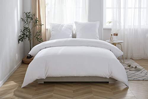MOHAP Sets de Housse de Couette 220x240cm + 2 Taies D'oreillers 65x65cm Blanc Parure de Lit 2 Personnes,Blanc