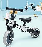 TANERDD Balance Bike Triciclo Plegable Triciclo 2 en 1 para niños para niños de 1-4 años de Edad Triciclo Infantil de 3 Ruedas para bebé,Plata