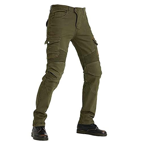 LISI Vaqueros para Montar En Moto para Hombres con Protecciones de Rodilla y Cadera Cómodo y Transpirable Cargo Recto Pantalones De Motorista