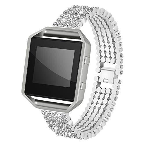 Banda Blaze, BFISOD Correa de Reloj de Diamantes de Imitación de Metal único con Marco, Pulsera de Repuesto Ajustable de Acero Inoxidable Compatible con el Reloj Inteligente Blaze (Plata)