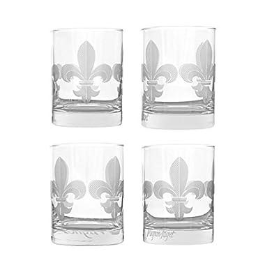 Mignon Faget Fleur de Lis Double Old Fashioned Glasses, Set of 4