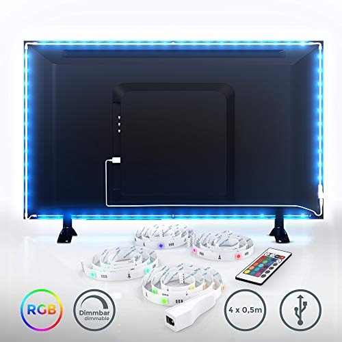 LED TV Hintergrundbeleuchtung Set I 2m LED Streifen inkl. USB Anschluss I LED Strip für Fernseher PC-Bildschirm mit Fernbedienung I 16 Farben I Selbstklebend für 40-60 Zoll TV