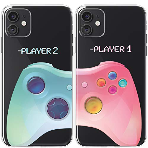 Mertak TPU Couple Cases Compatible with iPhone 12 Pro Max Mini 11 SE Xs Xr 8 Plus 7 6s Geek Cute Soulmate BFFs Blue Girlfriend Video Game Anniversary Pink Funny Silicone Colorful Matching Boyfriend
