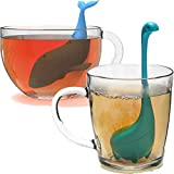 2-Pcs Silicone Tea Infuser, Cute Whale Dinosaur Reusable Long Handled Loose Leaf Tea Bags Strainer Filter (Nessie+Whale)
