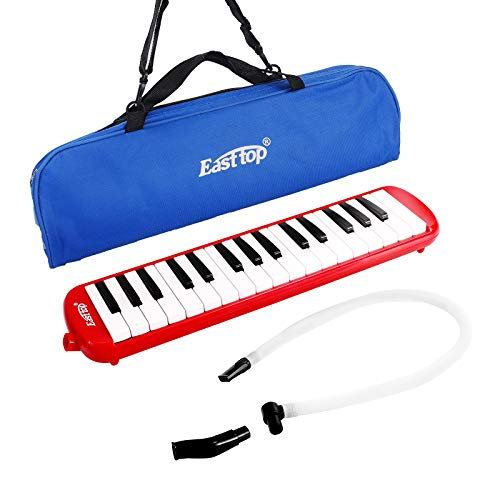 East top 32-Key Professional Mouth Melodica, Instrument Mouth Keyboard Organ Melodica Set-Red