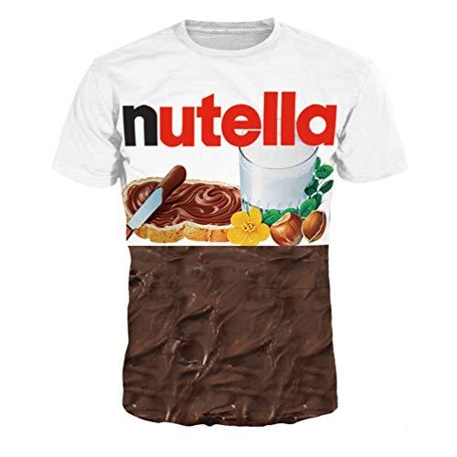 Paar T-Shirt 3D Drucke Kurzarm Wildes O-Neck Hemd Beiläufig DJ Bluse Frauen Männer Gotisch Punk Halber Ärmel,2-Nutella,XXL