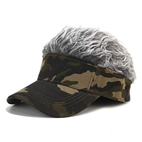 YEZININHAO Mens Novelty Sun Visor Cap with Spiked Fake Hair Camouflage Print Adjustable Snapback Wig Baseball Hat Hip Hop Streetwear Gift - Army Green Color + Gray Wig