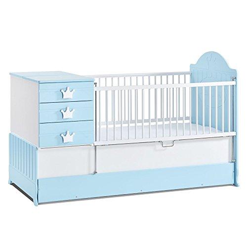 Babykamer, babymeubel, kinderkamermeubels, kinderkamer, meubels, combinatie: Little King meegroeiend babybed - blauw