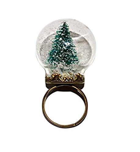 Globus-Ring, Miniatur-Weihnachtsbaum-Ring, Urlaubsschmuck, alternativer Weihnachtsbaum, Schneekugel-Ring, Glaskugel-Ring, Weihnachtsschmuck