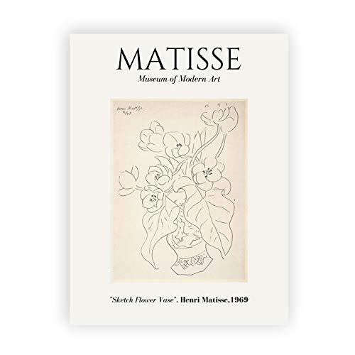 Dibujo de arte de lnea abstracta de Henri Matisse con pintura de lienzo minimalista, pster retro sin marco pintura de lienzo decorativa E 40x60cm