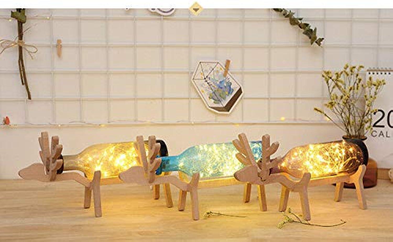Nordic Holz Hirsch Lampe LED Streifen Licht Glasflasche Nachtlichter USB Tischlampe, Lila B07PLKQ6FD  | Perfekt In Verarbeitung