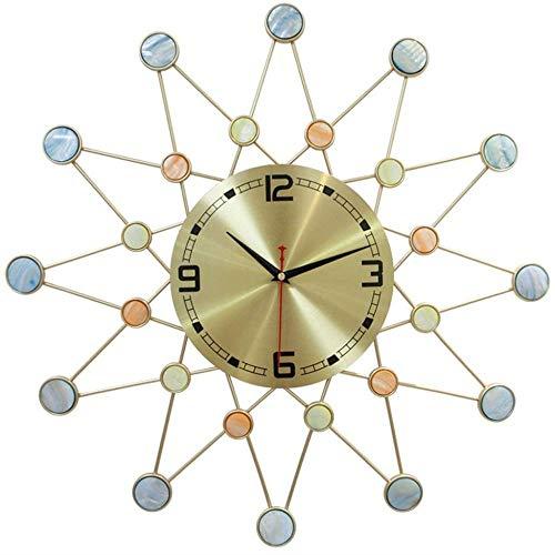 Reloj de pared grande de metal para sala de estar, estilo nórdico, silencioso, con números arábigos vintage, para sala de estar, cocina, dormitorio, oficina en casa (batería no incluida)