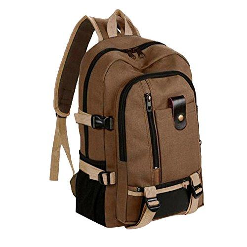 SicongHT Women Men Vintage Large Travel Canvas Leather Backpack Sport Rucksack Satchel School Hiking Bag(Brown)