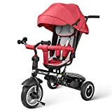 Tricycle for Toddlers 8 in 1, Baby Trike Stroller for Age 1 2 3 4 5 6 Year Old, Kids Tricycle with Push Handle,Boy Girl Infant Outdoor Toy Bike (Red)