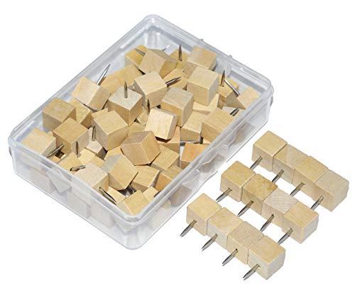 Wood Push Pins, JoyFamily Square Wooden Thumb Tacks Used for Cork Boards, Maps or Bulletin Boards, Natural Color (60PCS)