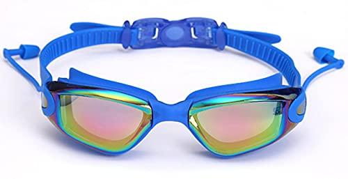 Dakecy Gafas de natación, Gafas de natación, Tapones para los oídos adjuntos, sin Fugas, protección contra los Rayos UV, visión de 180 Grados, Gafas de natación para jóvenes (Color : Blue1)
