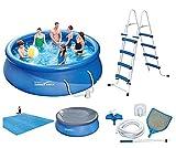VDP Summer Waves Fast Set Quick Up Pool 366x91cm Swimming Pool Familien Schwimmbad mit Filterpumpe + Leiter + Abdeckplane + Bodenplane + Reinigungsset