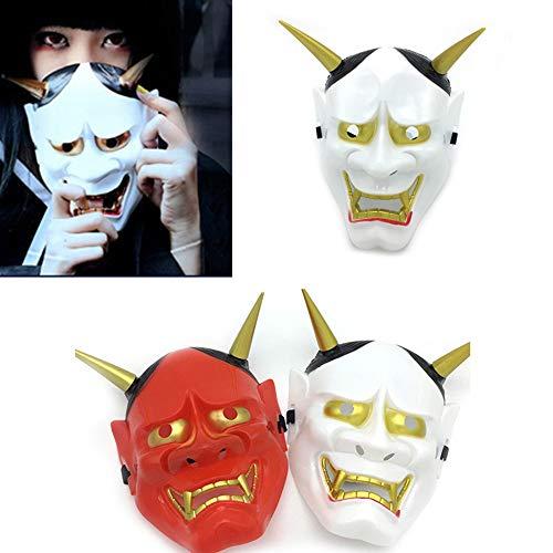 erbai Máscara japonesa Prajna para disfraz de fantasma demonio para Halloween Festival Cosplay rojo M