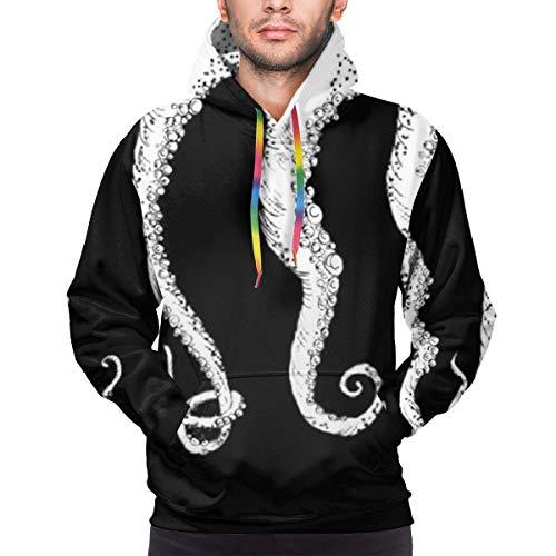 Men's Hoodie Octopus Tentacles Prints Sweate Sweatshirt Men's Casual Hoodie Casual Top Hooded,L