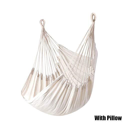 XinXiang – Silla colgante mecedora de viaje, camping, para exterior, jardín, adultos, niños, blanco, With Pillow