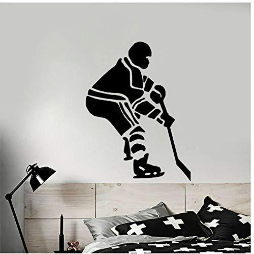 Annqing interessante hockeyspeler op ijs, woonkamer, slaapkamer, wandstickers, PVC, motief strips, decoratie thuis, 45 x 59 cm