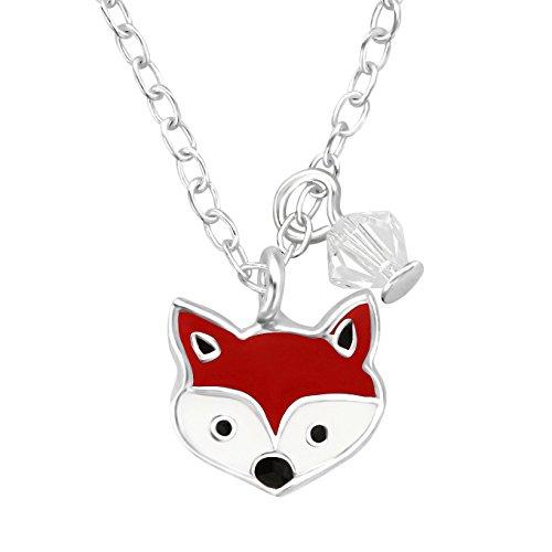 JAYARE Kinder Halskette Fuchs 925 Sterling Silber Swarovski Elements Glitzer-Kristall rot weiß Mädchen Kette mit Anhänger