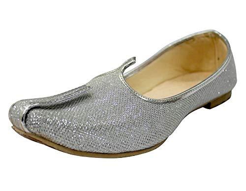 Step n Style Silver Glitter Mens Wedding Shoes for Sherwani Indian Shoes Jutti Mojari for Mens (10.5)