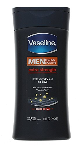 Vaseline Men Healing Moisture Body & Face Lotion Extra Strength – 10 oz, Pack of 6