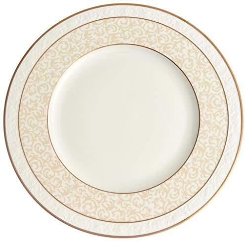 Villeroy & Boch Ivoire Speiseteller, runder Essteller mit Goldrändern und Ornamenten aus Premium Bone Porzellan, spülmaschinenfest, 270 mm