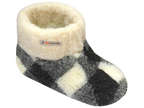 BeComfy Warme Hausschuhe Damen Herren Hüttenschuhe aus Schafwolle (45, Kariert)