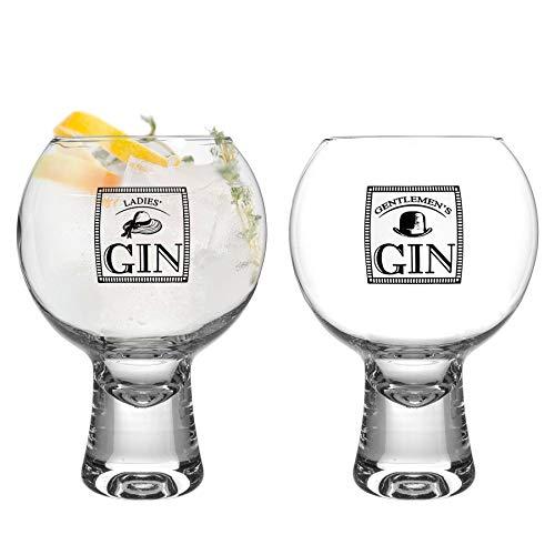 iStyle My Home 2 Piezas IKONIC para Mujeres y Hombres Gin Vasos Set - Decorado con Tallo Corto Globo español de Copa Balon Gin Tonic de Vidrio - 540ml