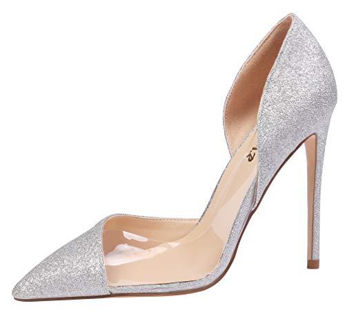 AOOAR Damen High Heels Mode Schuhe A-Glitzernd Silber Kleid-Partei Pumps EU 44