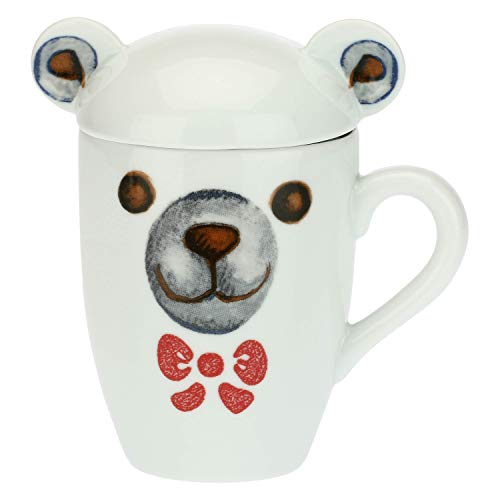 THUN - Tazza Colazione con Coperchio, a Forma di Orso Polare - Mug per tè, caffè, Latte - Idea Regalo Natale - Accessori Cucina - Linea Dolce Inverno - Porcellana - 330 ml